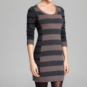 NWT AQUA Cashmere Sweater Dress Multi Stripe